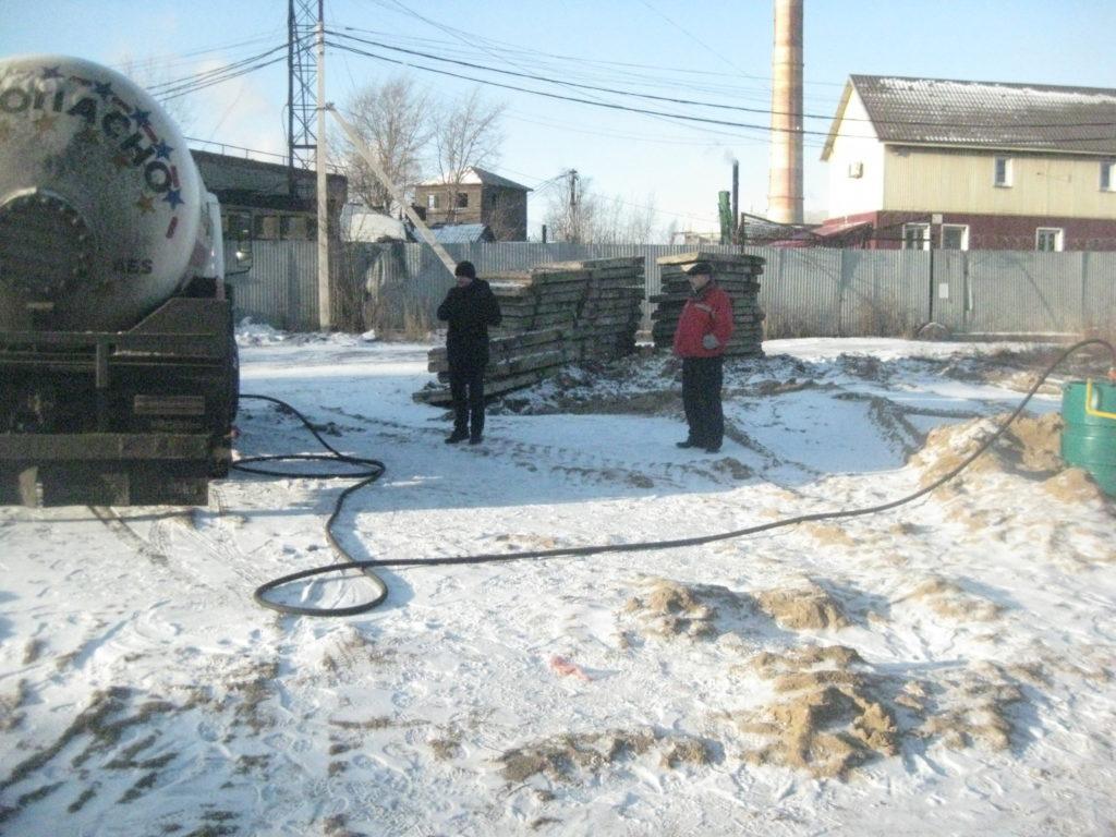 Заправка газгольдера в Череповце